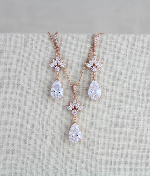 Bridal jewelry set Rose gold jewelry Rose gold earrings