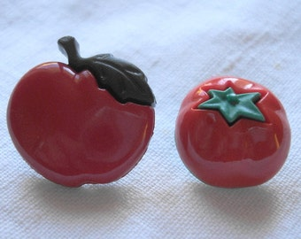 Fruit Snap-together Buttons - Realistic Apple and Tomato Plastic Buttons