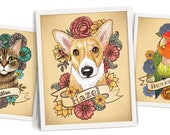 Pet portrait 11x14 print custom pet dog cat bird portrait art print stylized tattoo unique illustration with flowers gift idea