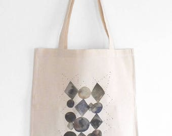 Geometric tote bag, Unisex bag, Abstract black and white, Graphic print, Watercolor shopping bag, Fine art, Illustrated cotton bag, Geometry