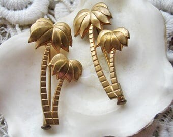 Antique palm tree brooches, Antique botanical brooches, Antique jewelry lot, Antique old stock jewelry, Antique Art Deco brooches lot