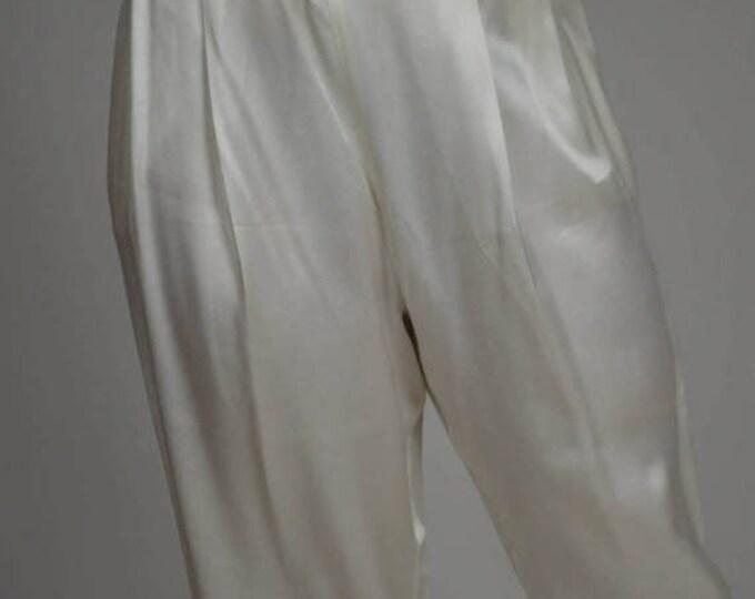 sale Vintage Pants, White Disco Pants, Cigarette Pants, Satin Pants, Cocktail Pants, Skinny Legged Pants, Size Small, 70s Pants, 70s Disco P