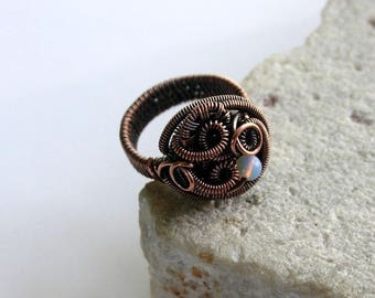 Light Pink Opalite Abstract Wire Wrapped Copper Ring, Wire Wrapped Ring, Rustic, Handcrafted, Size 8.5US