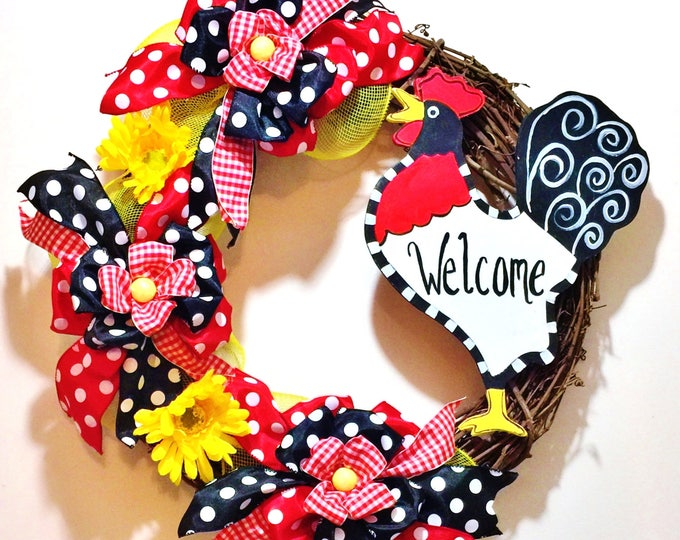 FREE SHIPPING Rooster - Welcome Door Wreath