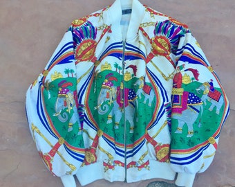 The Vintage White Taj Mahal Elephant Baseball Bomber Zip Up Jacket