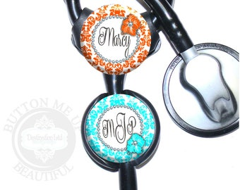 """1 1/2"""" Design Stethoscope ID Tag - Personalized Flower Damask Nurse Littmann Identification in 8 Color Choices (A364)"""