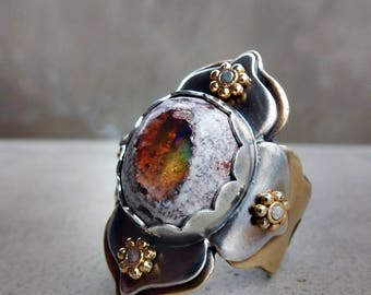 RESERVED FOR LAUREN G., Lotus Ring with Rainbow Mexican Fire Opal, Passion, Protection, Sacral and Solar Plexus Chakra, Kundalini Stone
