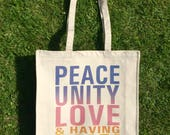 Peace & Love Canvas Shopper, Tote Bag, Shoulder Bag