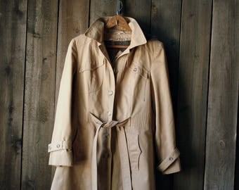 Vintage Trench Coat With Hood Partial Wool Lining Vintage From Nowvintage o Etsy
