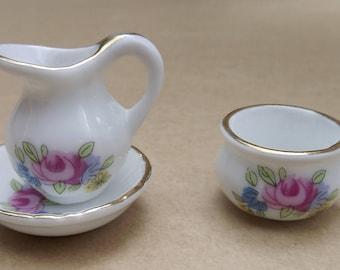 Tiny Dollhouse Dishes Porcelain Set of Pitcher Bowl Chamber Pot