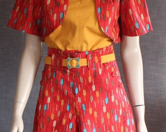 Summer fun / 1930s pattern / vintage pattern / 1940s / culottes / ensemble / cotton / handmade / OOAK / pinup / WW11 / retro / classic /