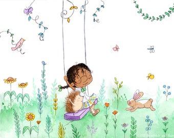 Periwinkle and Hazel on the Garden Swing - Art Print