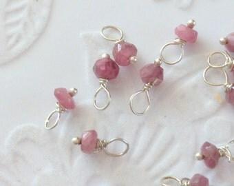 2 x Tiny Pink Tourmaline Charms / Dangles / Interchangeable Charms / Jewellery Add On Semi Precious Gems (231)