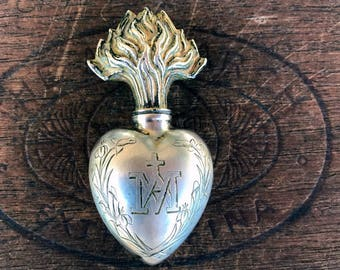 Antique French Silver Plated Ex Voto Holy Water Oil Vessel