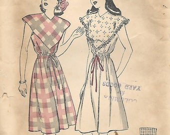 Butterick 4135 1940s Deep Yoke Summer Dress Unprinted Vintage Sewing Pattern Size 10 Drawstring Waist