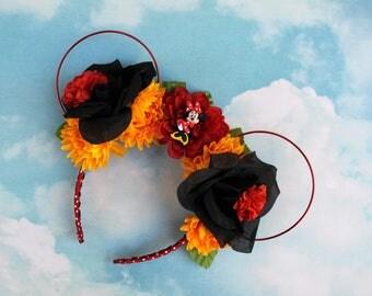 Minnie Ears   Floral Mickey  Ears   Flower Crown Mickey Ears   Wire Mickey Ears   Ready to Ship   Kids Mickey Ears