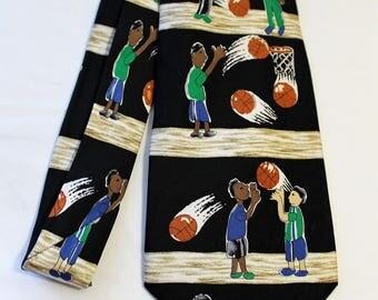 """Vintage Save the Children Silk Necktie - """"Basketball Free Throw"""""""