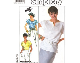 Womens Pullover Top Pattern Simplicity 8084 Cap Sleeve Top Round Slit or V-Neckline Womens Size 8 to 14 Sewing Pattern UNCUT
