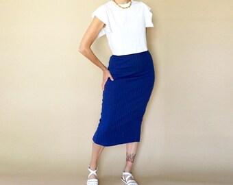 90s ribbed INDIGO high waist bodycon PENCIL skirt S