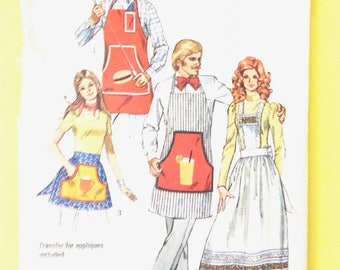 1970s Simplicity 5097 Misses and Mens Unisex Aprons Barbaque Half Full Hostess Craft One Size 1972  Vintage Sewing Pattern