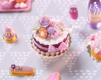 Purple Rose Cake Decorated with Cookies, Macaron, Blossoms - Miniature Food in 1/12th Scale