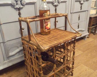 Vintage Bamboo Rattan ~ Wine Rack ~ Holds 12 Bottles ~ Wine Stand ~ Wine  Bottle