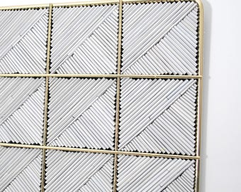 white and gold wall art - made with recycled magazines, metal frame, modern, home decor, interior design, delicate, unique, grid, square