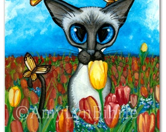 Mothers Day Siamese Cat Butterfly Whisper Tulip Flowers Spring ArT - Art Prints by Bihrle ck424