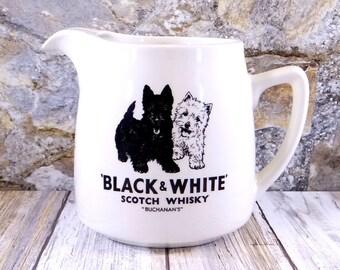 Buchanan's Black and White Scotch Whisky Pitcher Jug, James Green & Nephew, England