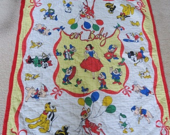SNOW WHITE quilt, Disney bedspread, baby coverlet, 30s nursery, 1940s decor, vintage baby, Disney Snow White, yellow nursery
