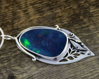 Blue Opal Pendant, Metamorphosis amulet, black opal, fire opal, opal jewelry, opal necklace, rustic, boho, opal engagement, twig ring, boho