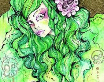 Green Hair Skull Girl Ink and Watercolor Illustration