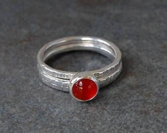 Carnelian Stacking Ring, Carnelian Ring, Silver Carnelian Ring, Silver Ring, Stacking Ring, Gemstone Ring, Sterling Silver Ring, Emmasjewels