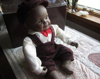 "Ashton Drake ""David"". Porcelain African American Doll Boy by Yolando Bello. Original Box"