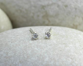Tiny White Sapphire Earrings with Sterling Silver Posts, second hole white sapphire stud earrings