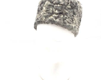 Vintage 50s GENUINE Persian Lamb Fur Pillbox Hat / Gray Russian Diplomat Style Hat