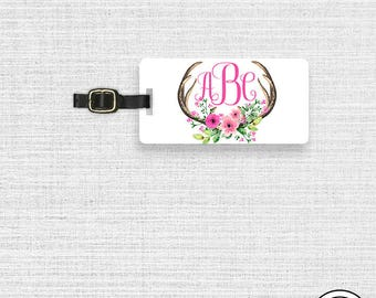 Luggage Tag,  Name or Monogram on Front, Printed Personalization Address on Back Single tag Floral Antler Boho Hunter Tag