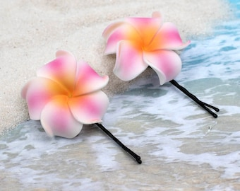 Flower Bobby Pins, 1 1/4 inch Flower, Pink and Orange,  Floral Hair Pins