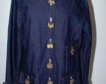 NOS Bob Mackie Wearable Art Embroidered Astrology Jeans Top Jacket L
