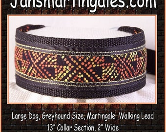 Jansmartingales,  Walking Lead, Dog Collar and Lead Combination, Greyhound, Large Dog Size, blk236
