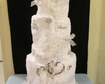 Bridal Shower, 3 Tier Towel Cake, bridal shower decoration, bridal gift