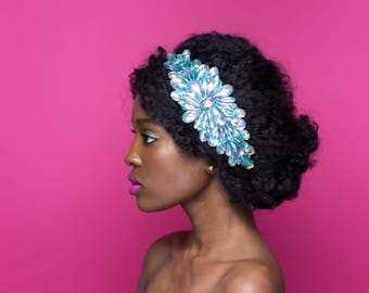 Blue Rhinestone Headband, Blue and Purple Jewel Headband, Natural Hair Accessories, Afro Accessories, Jewel Applique Headband