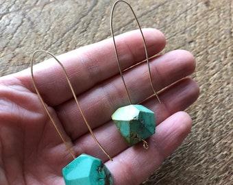 Turquoise Balance Open Hoop Earrings