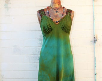 Large Green Earth Romantic Dress/Maxi Dress/Couture/Paris Fashion/Tie Dye Slip Dress/Green Maxi Dress/Music Festival Wear/Green Goddess