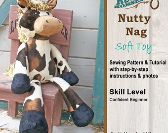 Plush Horse Doll Sewing Pattern and Tutorial Rustic Horseshoe Orginal Nutty Nag Toy Horse
