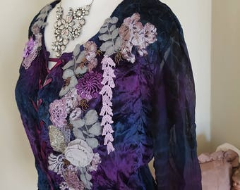 art to wear, wearable art, purple velvet jacket, corset style ties front and back, medieval queen, ethereal dramatic