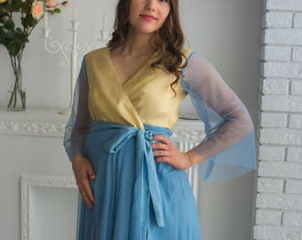 Dusty Blue Gold Tulle Maternity Robe from my Paris Inspirations Collection - Shimmering Grace in Dusty Blue - Perfect for maternity shoot