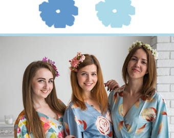 Sky Blue and Dusty Blue Wedding Color Bridesmaids Robes - Premium Soft Rayon - Wider Belt and Lapels - Wider Kimono sleeves