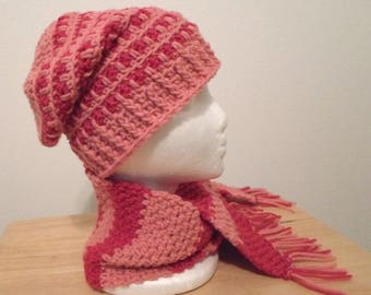 Hat Set with Scarf - Slouchy Crochet Hat with matching Scarf in Pink and Sangria Red