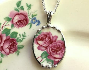 Broken china jewelry necklace pendant beautiful pink roses made from antique broken china. recycled china